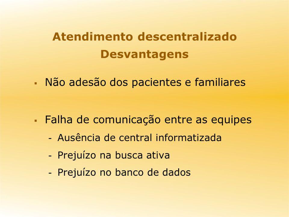 Atendimento descentralizado Desvantagens Não adesão dos pacientes e familiares Falha de comunicação entre as equipes - Ausência de central informatiza