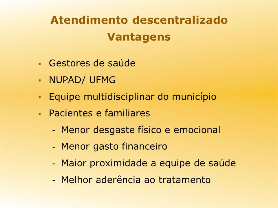 Atendimento descentralizado Vantagens Gestores de saúde NUPAD/ UFMG Equipe multidisciplinar do município Pacientes e familiares - Menor desgaste físic