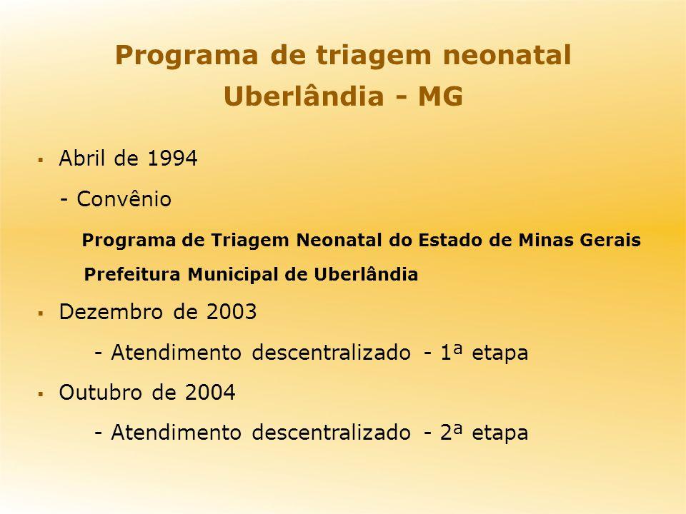 Programa de triagem neonatal Uberlândia - MG Abril de 1994 - Convênio Programa de Triagem Neonatal do Estado de Minas Gerais Prefeitura Municipal de U