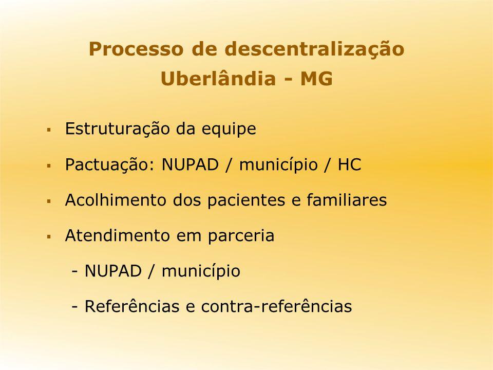 Processo de descentralização Uberlândia - MG Estruturação da equipe Pactuação: NUPAD / município / HC Acolhimento dos pacientes e familiares Atendimen
