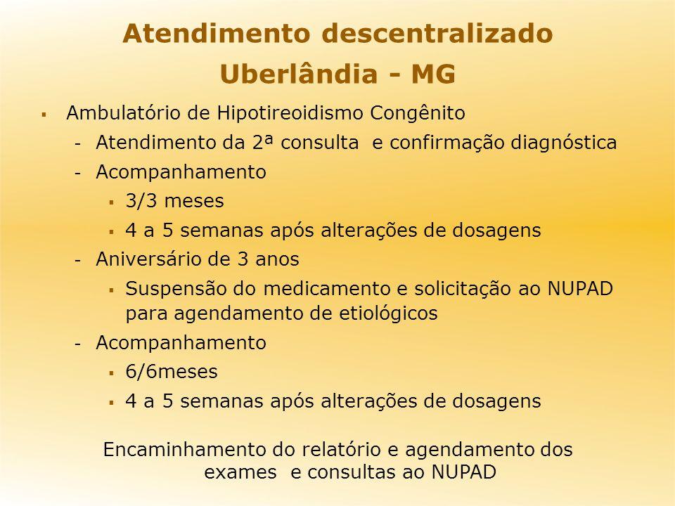 Atendimento descentralizado Uberlândia - MG Ambulatório de Hipotireoidismo Congênito - Atendimento da 2ª consulta e confirmação diagnóstica - Acompanh