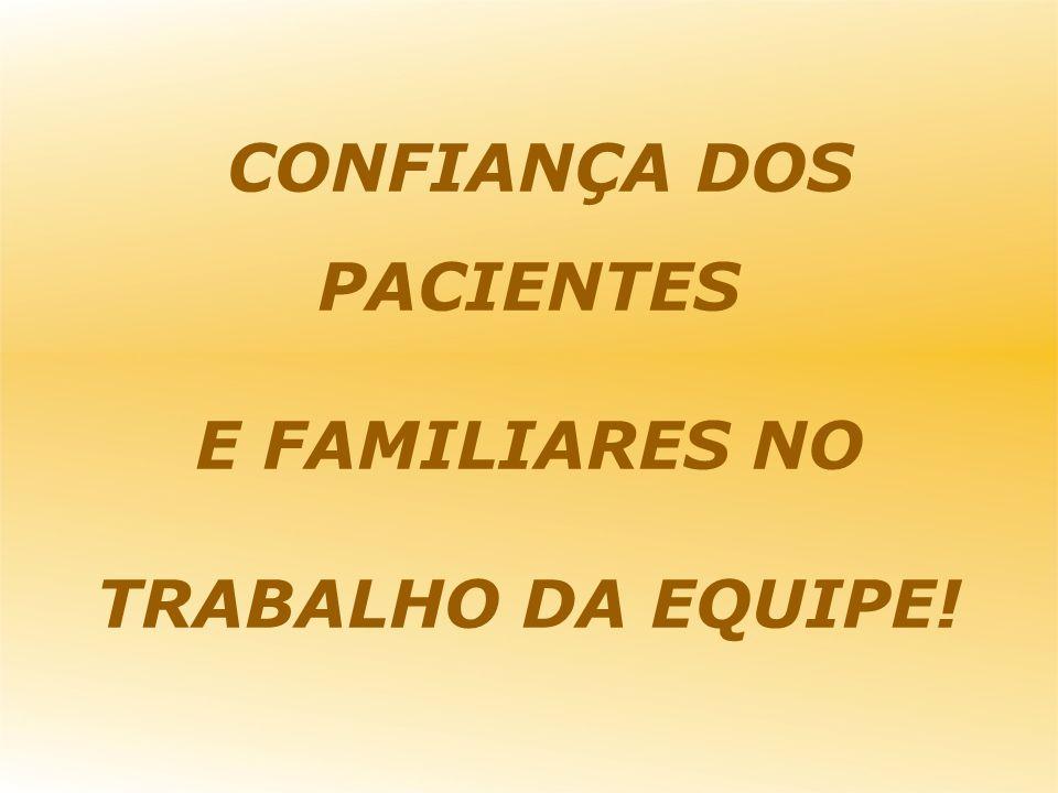 CONFIANÇA DOS PACIENTES E FAMILIARES NO TRABALHO DA EQUIPE!