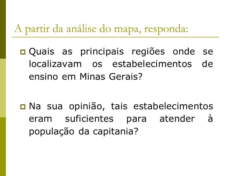 A partir da análise do mapa, responda: Quais as principais regiões onde se localizavam os estabelecimentos de ensino em Minas Gerais? Na sua opinião,