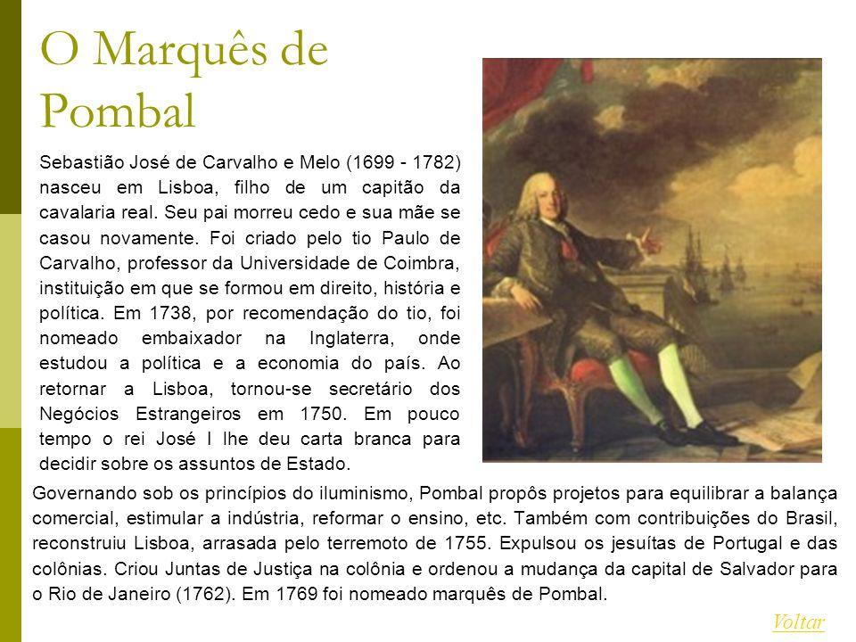 Governando sob os princípios do iluminismo, Pombal propôs projetos para equilibrar a balança comercial, estimular a indústria, reformar o ensino, etc.