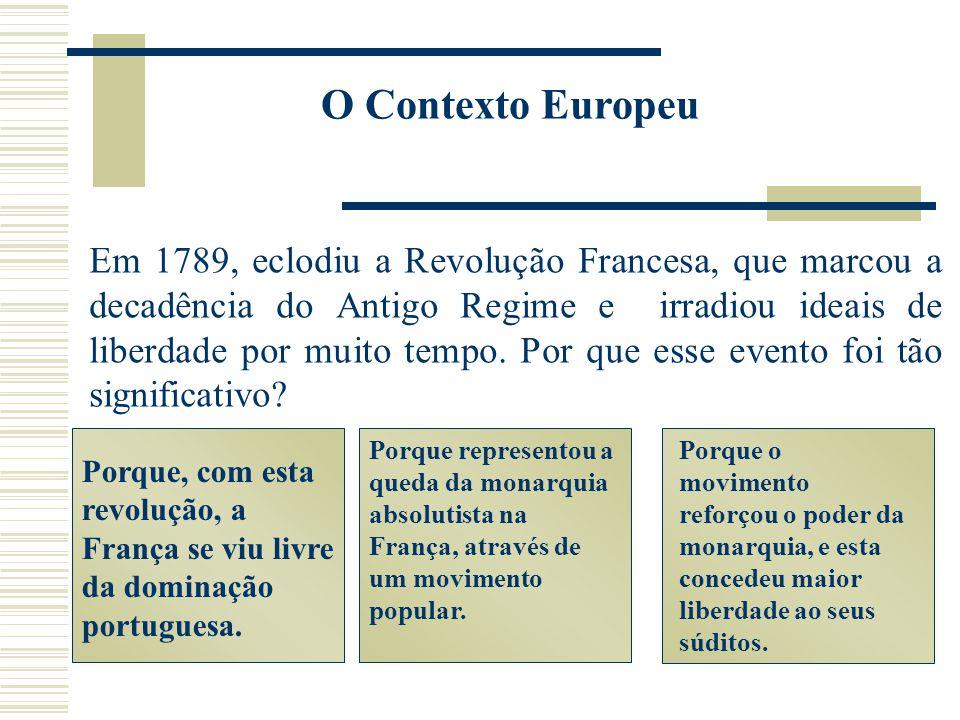 O Contexto Europeu Em 1789, eclodiu a Revolução Francesa, que marcou a decadência do Antigo Regime e irradiou ideais de liberdade por muito tempo. Por