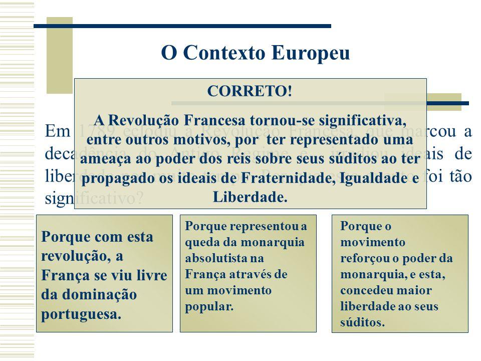 O Contexto Europeu Porque com esta revolução, a França se viu livre da dominação portuguesa. Porque representou a queda da monarquia absolutista na Fr