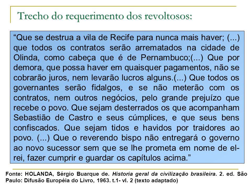 Trecho do requerimento dos revoltosos: Que se destrua a vila de Recife para nunca mais haver; (...) que todos os contratos serão arrematados na cidade