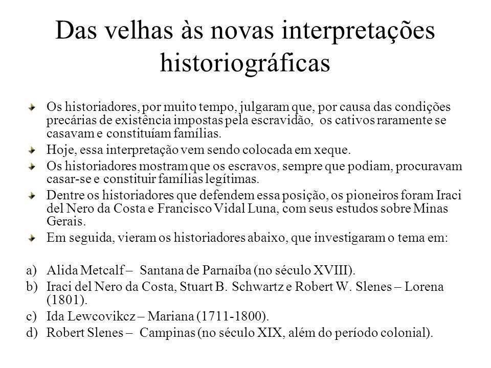 Das velhas às novas interpretações historiográficas Os historiadores, por muito tempo, julgaram que, por causa das condições precárias de existência i