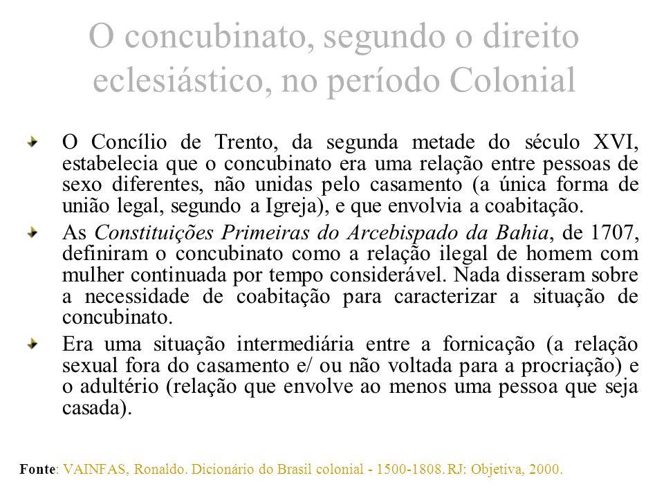 O concubinato, segundo o direito eclesiástico, no período Colonial O Concílio de Trento, da segunda metade do século XVI, estabelecia que o concubinat