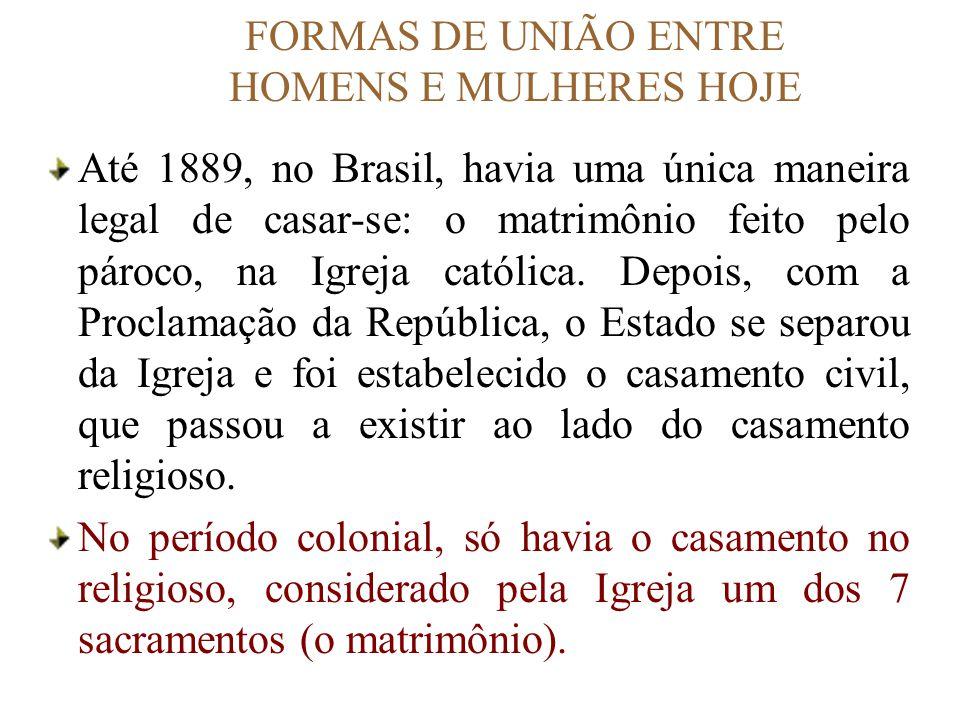 FORMAS DE UNIÃO ENTRE HOMENS E MULHERES HOJE Até 1889, no Brasil, havia uma única maneira legal de casar-se: o matrimônio feito pelo pároco, na Igreja