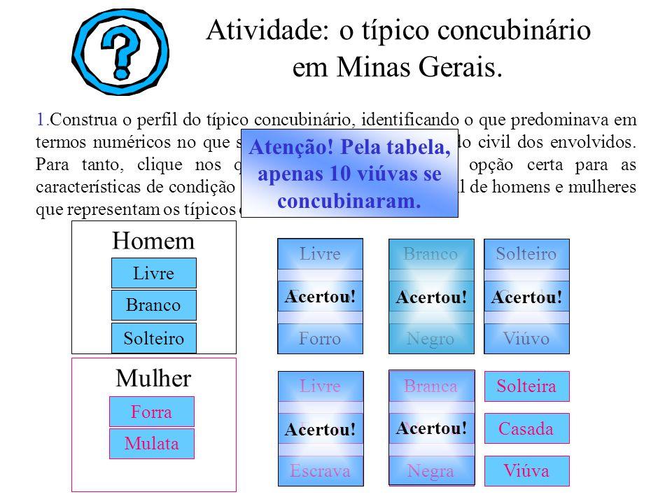 1.Construa o perfil do típico concubinário, identificando o que predominava em termos numéricos no que se refere ao sexo, cor e estado civil dos envol