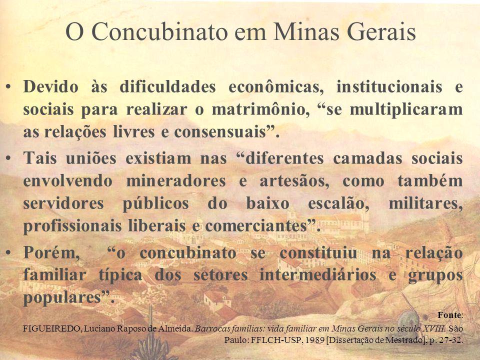 O Concubinato em Minas Gerais Devido às dificuldades econômicas, institucionais e sociais para realizar o matrimônio, se multiplicaram as relações liv