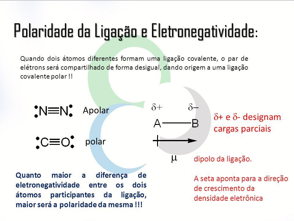 Polaridade da Ligação e Eletronegatividade Polaridade da Ligação e Eletronegatividade : Quando dois átomos diferentes formam uma ligação covalente, o par de elétrons será compartilhado de forma desigual, dando origem a uma ligação covalente polar !.