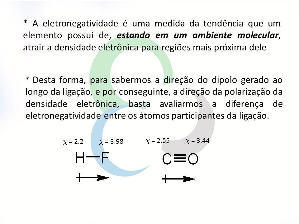 * A eletronegatividade é uma medida da tendência que um elemento possui de, estando em um ambiente molecular, atrair a densidade eletrônica para regiões mais próxima dele * Desta forma, para sabermos a direção do dipolo gerado ao longo da ligação, e por conseguinte, a direção da polarização da densidade eletrônica, basta avaliarmos a diferença de eletronegatividade entre os átomos participantes da ligação.