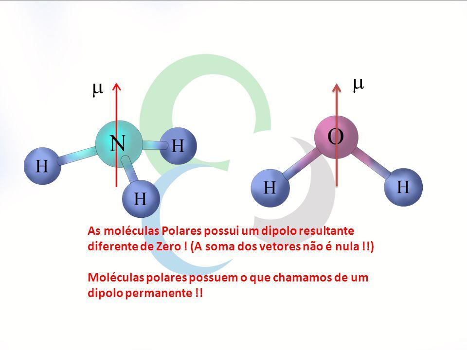 As moléculas Polares possui um dipolo resultante diferente de Zero .