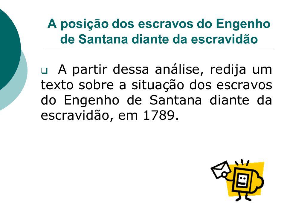 A posição dos escravos do Engenho de Santana diante da escravidão A partir dessa análise, redija um texto sobre a situação dos escravos do Engenho de