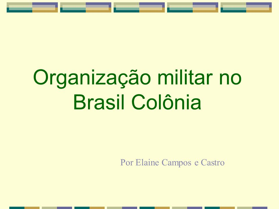 Organização militar no Brasil Colônia Por Elaine Campos e Castro
