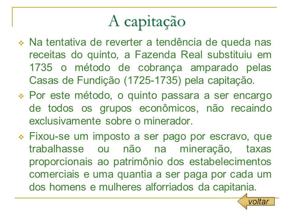 A capitação Na tentativa de reverter a tendência de queda nas receitas do quinto, a Fazenda Real substituiu em 1735 o método de cobrança amparado pelas Casas de Fundição (1725-1735) pela capitação.