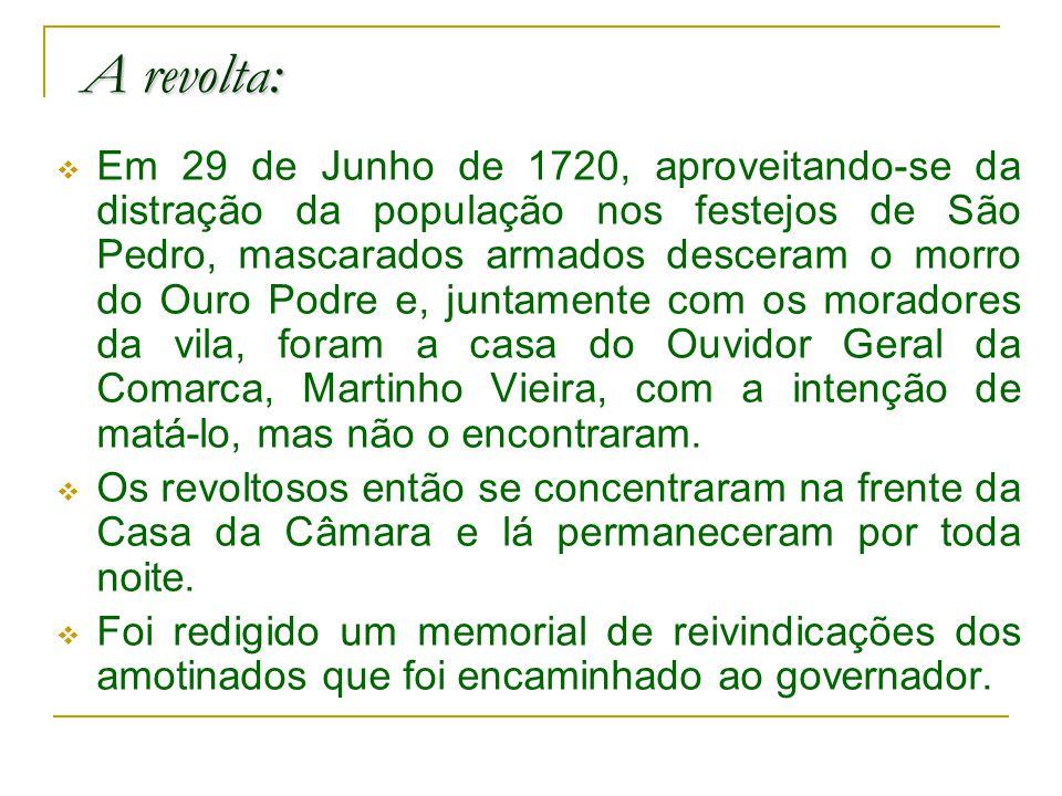 A revolta: Em 29 de Junho de 1720, aproveitando-se da distração da população nos festejos de São Pedro, mascarados armados desceram o morro do Ouro Podre e, juntamente com os moradores da vila, foram a casa do Ouvidor Geral da Comarca, Martinho Vieira, com a intenção de matá-lo, mas não o encontraram.
