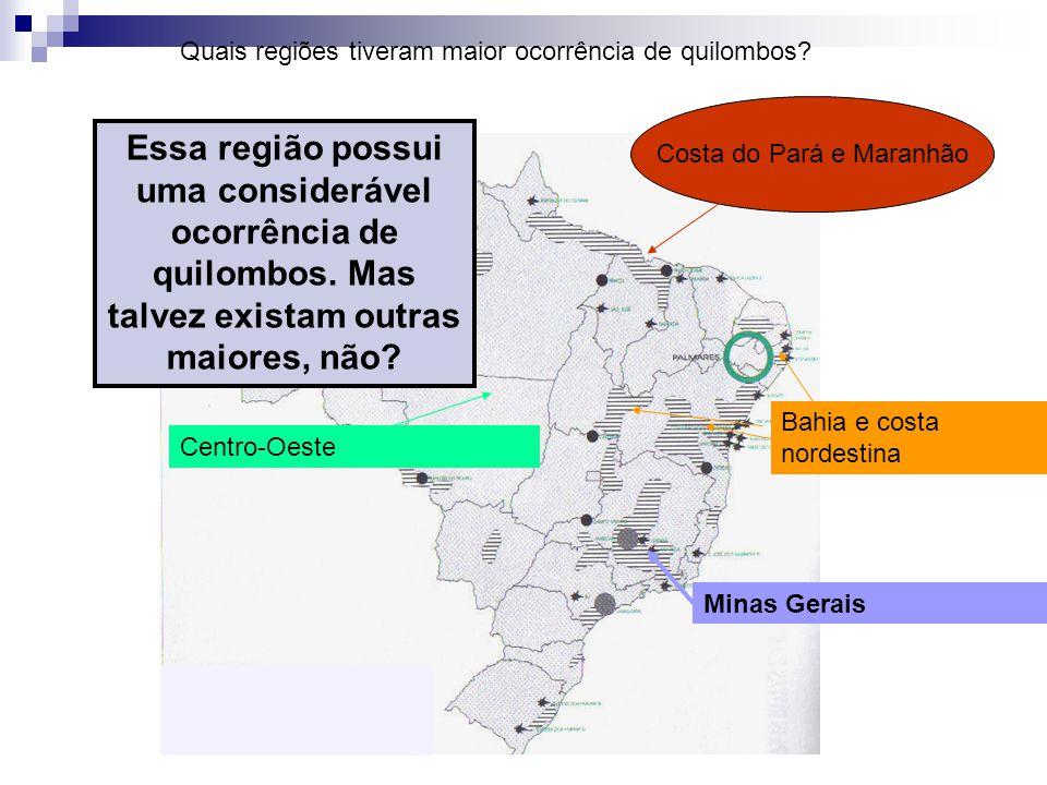 Minas Gerais Bahia e costa nordestina Costa do Pará e Maranhão Centro-Oeste Quais regiões tiveram maior ocorrência de quilombos? Essa região possui um