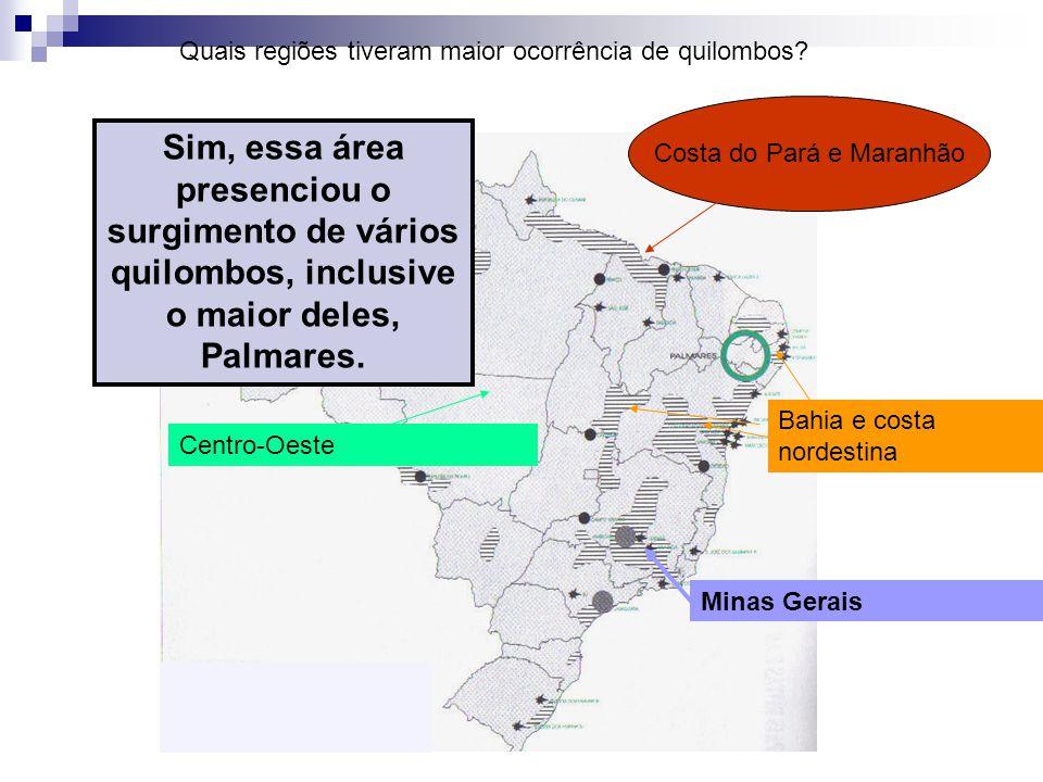 Minas Gerais Bahia e costa nordestina Costa do Pará e Maranhão Centro-Oeste Quais regiões tiveram maior ocorrência de quilombos? Sim, essa área presen