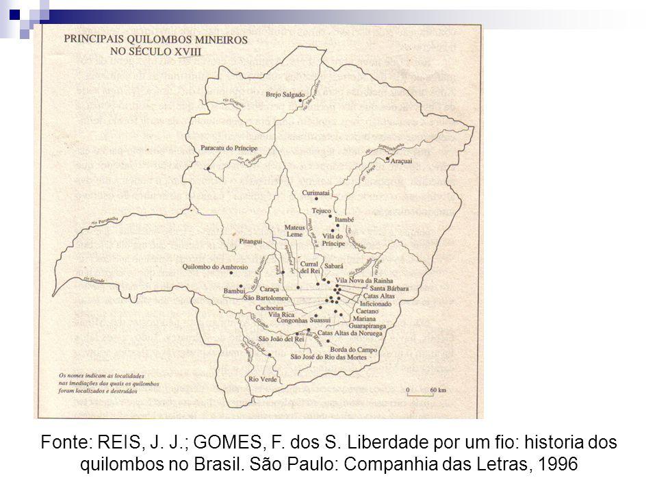 Fonte: REIS, J. J.; GOMES, F. dos S. Liberdade por um fio: historia dos quilombos no Brasil. São Paulo: Companhia das Letras, 1996