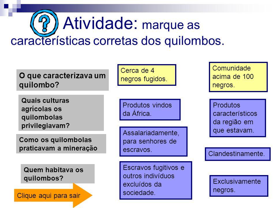 Atividade: marque as características corretas dos quilombos. O que caracterizava um quilombo? Cerca de 4 negros fugidos. Comunidade acima de 100 negro