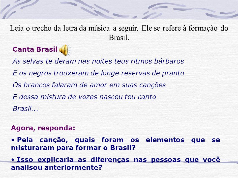 Canta Brasil As selvas te deram nas noites teus ritmos bárbaros E os negros trouxeram de longe reservas de pranto Os brancos falaram de amor em suas canções E dessa mistura de vozes nasceu teu canto Brasil...