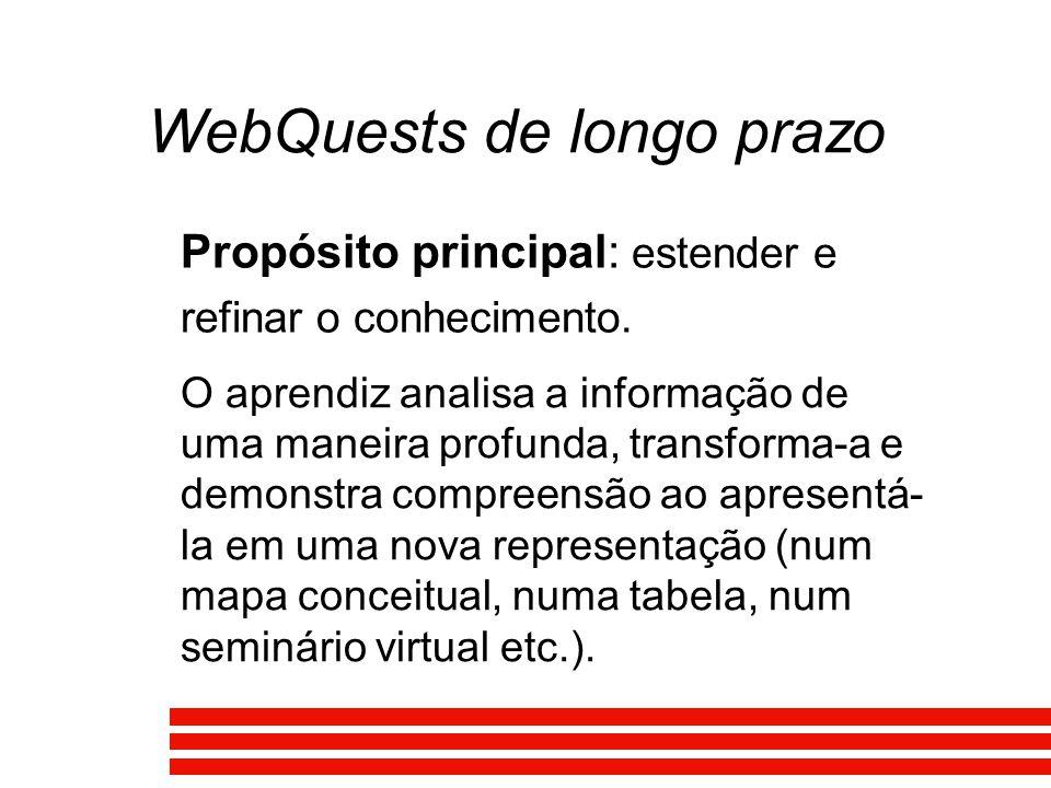 WebQuests de longo prazo Propósito principal: estender e refinar o conhecimento. O aprendiz analisa a informação de uma maneira profunda, transforma-a