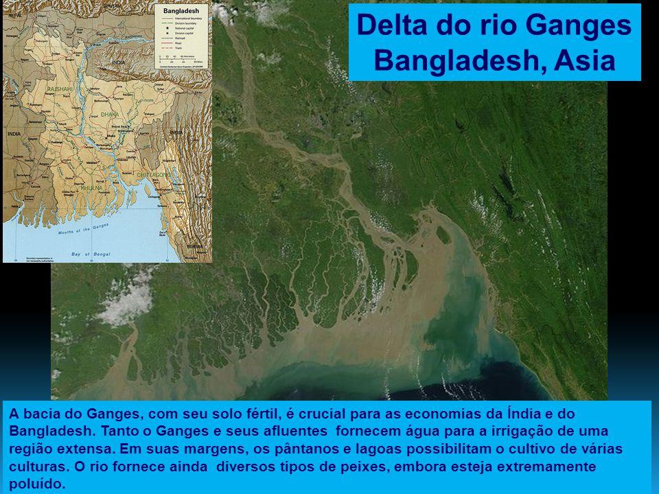 Delta do rio Ganges Bangladesh, Asia A bacia do Ganges, com seu solo fértil, é crucial para as economias da Índia e do Bangladesh. Tanto o Ganges e se