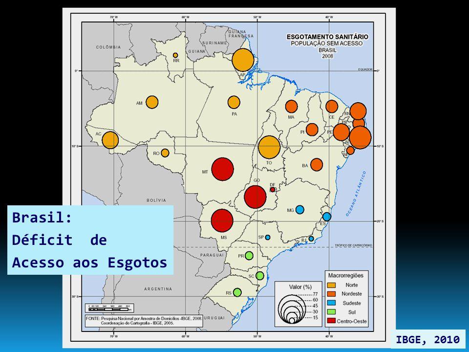 Brasil: Déficit de Acesso aos Esgotos IBGE, 2010
