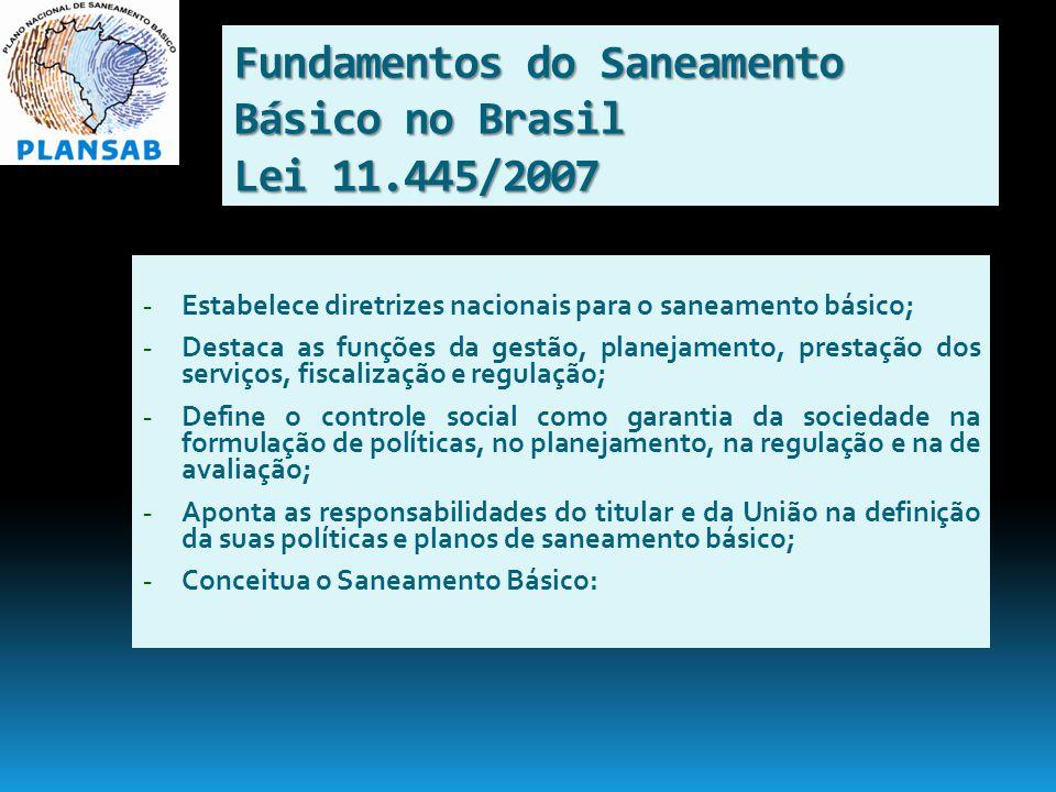 Fundamentos do Saneamento Básico no Brasil Lei 11.445/2007 - Estabelece diretrizes nacionais para o saneamento básico; - Destaca as funções da gestão,