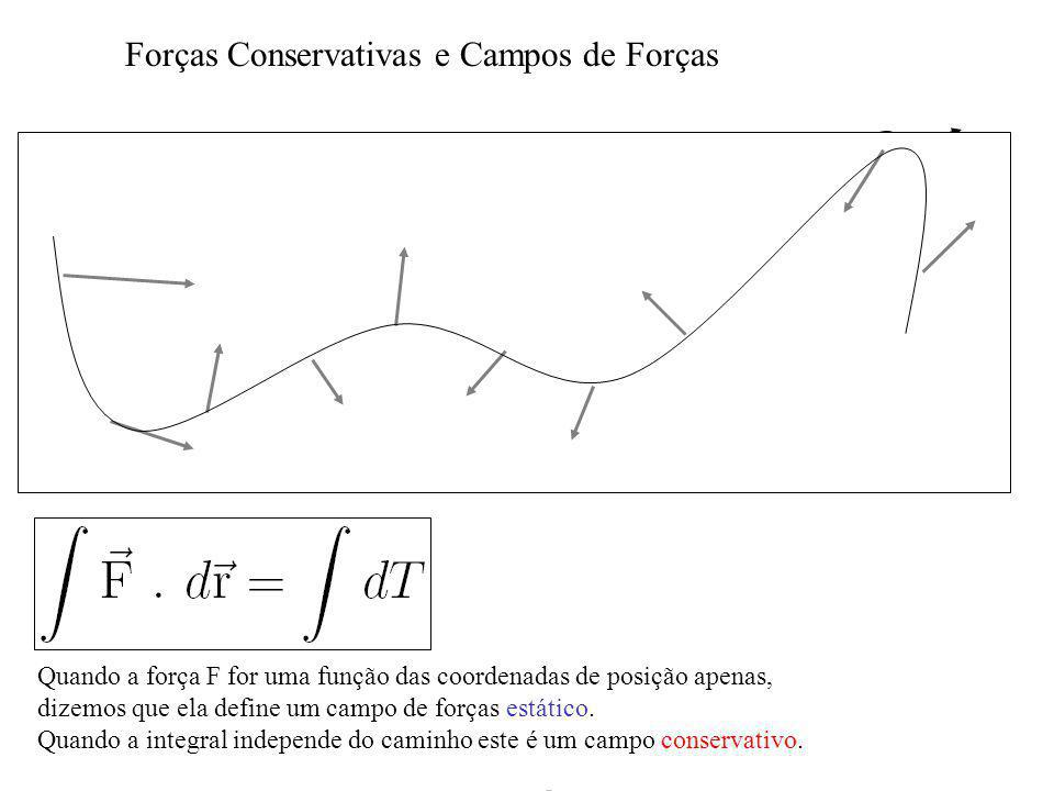 Forças Conservativas e Campos de Forças dr F Quando a força F for uma função das coordenadas de posição apenas, dizemos que ela define um campo de forças estático.