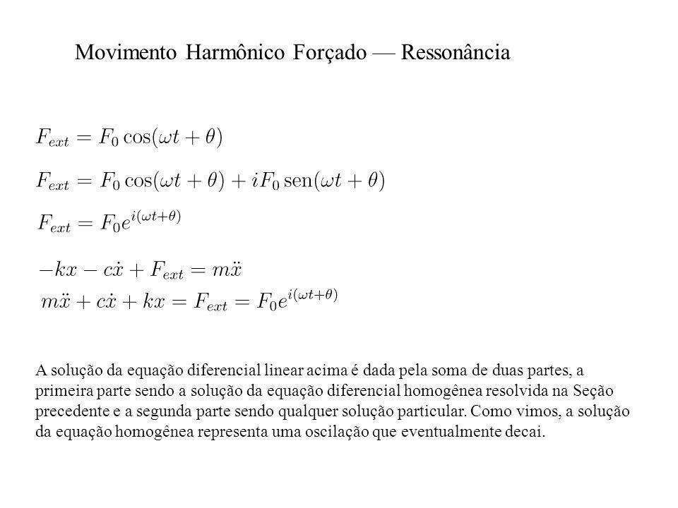 A solução da equação diferencial linear acima é dada pela soma de duas partes, a primeira parte sendo a solução da equação diferencial homogênea resolvida na Seção precedente e a segunda parte sendo qualquer solução particular.