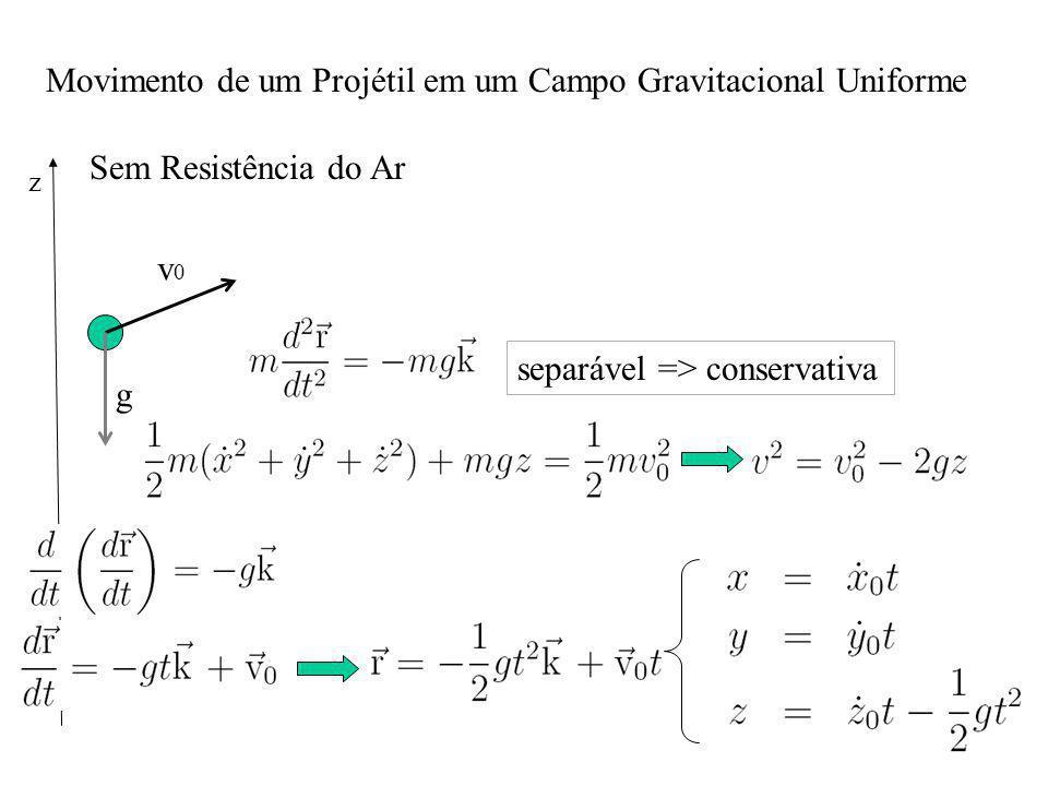 Movimento de um Projétil em um Campo Gravitacional Uniforme Sem Resistência do Ar v0v0 g z separável => conservativa