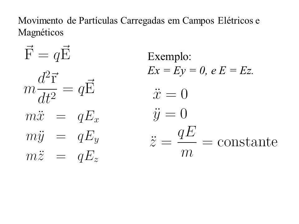 Movimento de Partículas Carregadas em Campos Elétricos e Magnéticos Exemplo: Ex = Ey = 0, e E = Ez.