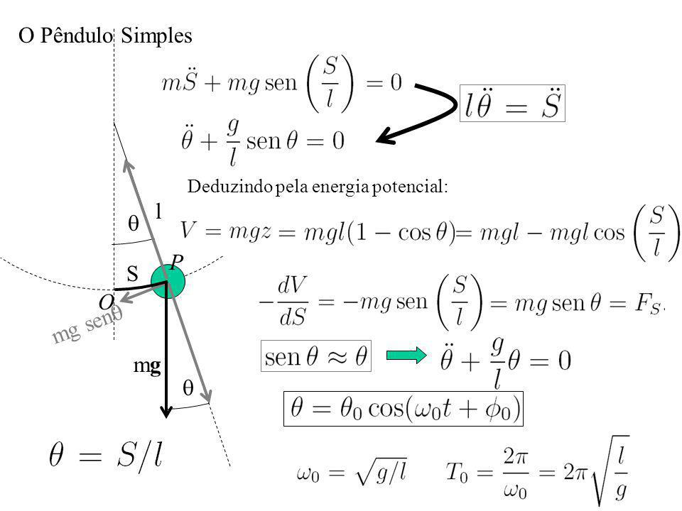 O Pêndulo Simples S l mgmg O P mg sen Deduzindo pela energia potencial: