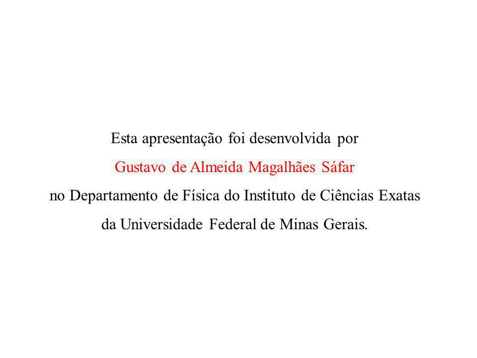 Esta apresentação foi desenvolvida por Gustavo de Almeida Magalhães Sáfar no Departamento de Física do Instituto de Ciências Exatas da Universidade Federal de Minas Gerais.