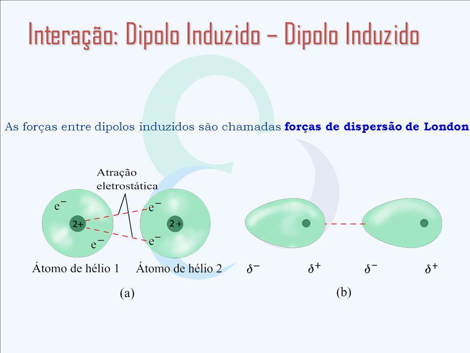 Interação: Dipolo Induzido – Dipolo Induzido As forças entre dipolos induzidos são chamadas forças de dispersão de London.