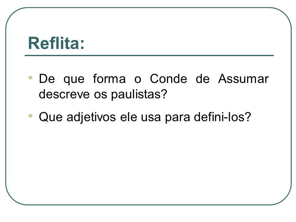 Reflita: De que forma o Conde de Assumar descreve os paulistas? Que adjetivos ele usa para defini-los?