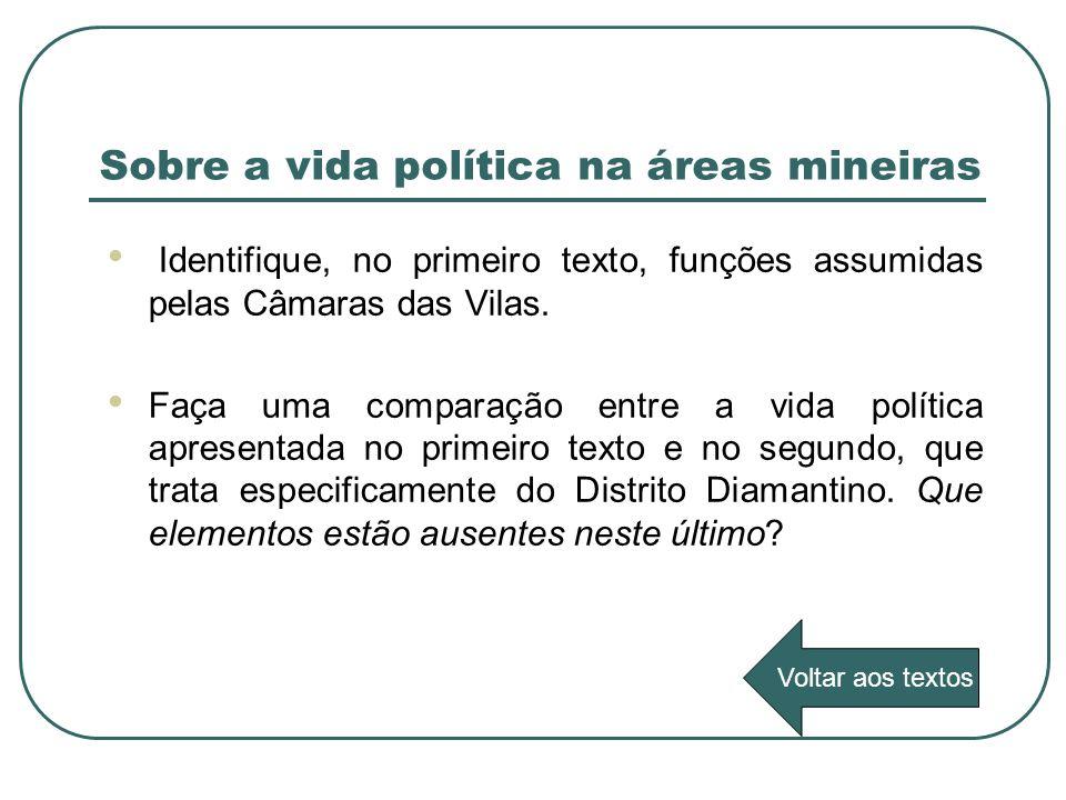 Sobre a vida política na áreas mineiras Identifique, no primeiro texto, funções assumidas pelas Câmaras das Vilas. Faça uma comparação entre a vida po
