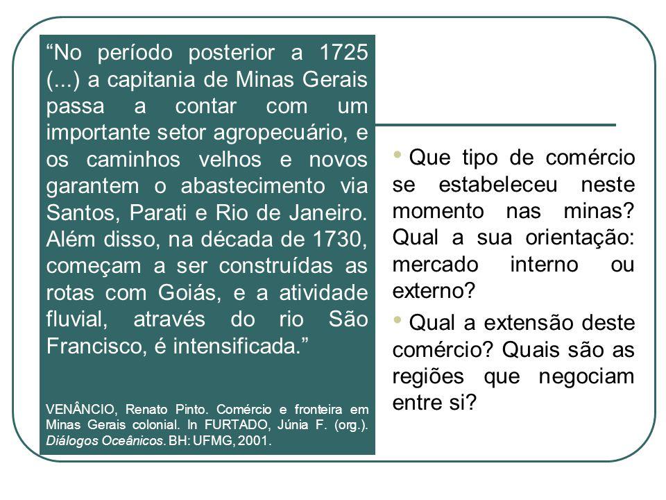 No período posterior a 1725 (...) a capitania de Minas Gerais passa a contar com um importante setor agropecuário, e os caminhos velhos e novos garant