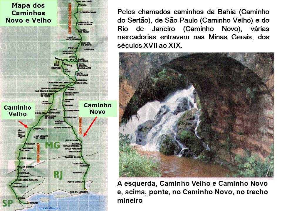 Pelos chamados caminhos da Bahia (Caminho do Sertão), de São Paulo (Caminho Velho) e do Rio de Janeiro (Caminho Novo), várias mercadorias entravam nas