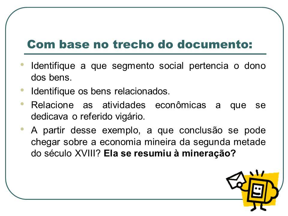 Com base no trecho do documento: Identifique a que segmento social pertencia o dono dos bens. Identifique os bens relacionados. Relacione as atividade