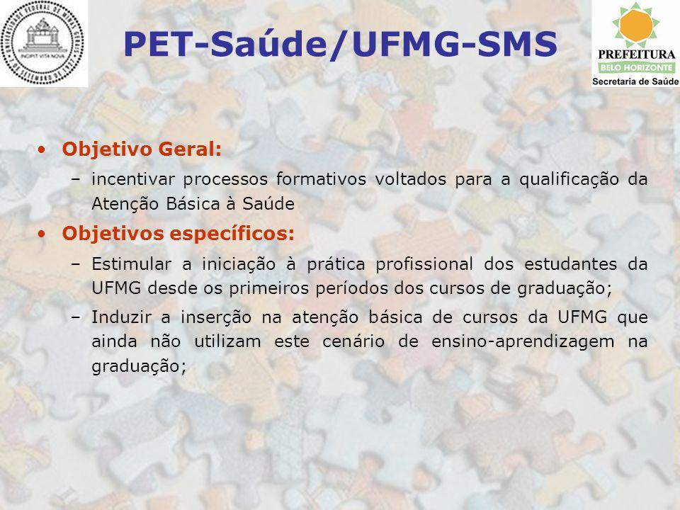 PET-Saúde/UFMG-SMS Objetivo Geral: –incentivar processos formativos voltados para a qualificação da Atenção Básica à Saúde Objetivos específicos: –Est