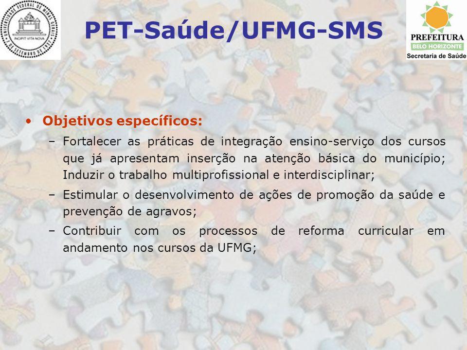 PET-Saúde/UFMG-SMS Objetivos específicos: –Fortalecer as práticas de integração ensino-serviço dos cursos que já apresentam inserção na atenção básica