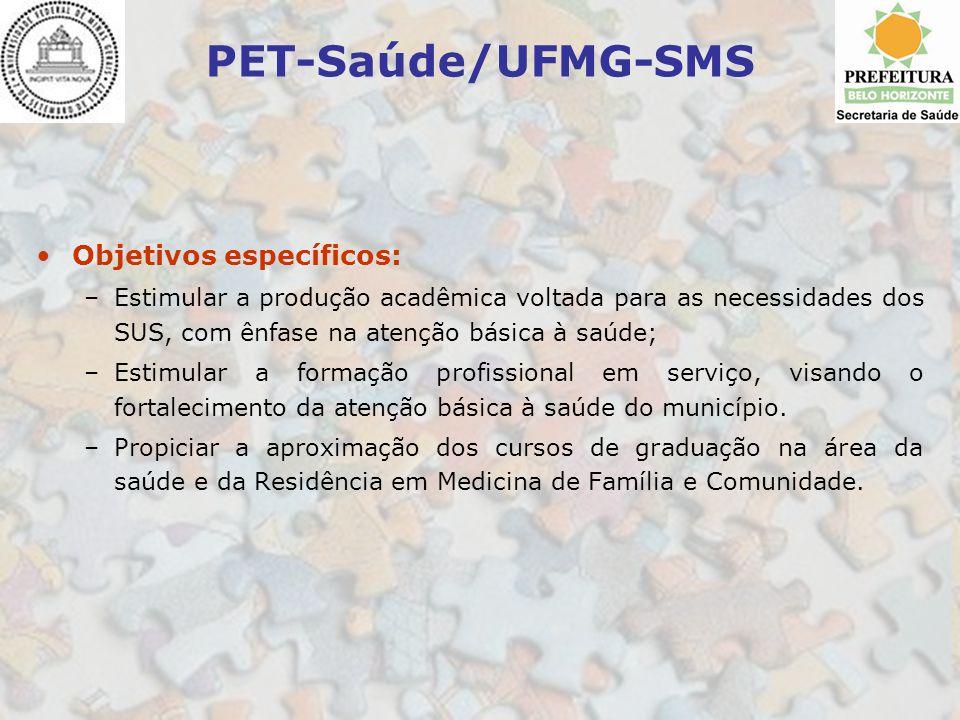 PET-Saúde/UFMG-SMS Objetivos específicos: –Estimular a produção acadêmica voltada para as necessidades dos SUS, com ênfase na atenção básica à saúde;