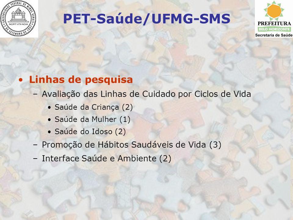PET-Saúde/UFMG-SMS Linhas de pesquisa –Avaliação das Linhas de Cuidado por Ciclos de Vida Saúde da Criança (2) Saúde da Mulher (1) Saúde do Idoso (2)