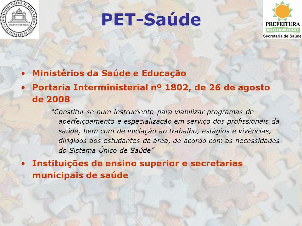 PET-Saúde Ministérios da Saúde e Educação Portaria Interministerial nº 1802, de 26 de agosto de 2008 Constitui-se num instrumento para viabilizar prog