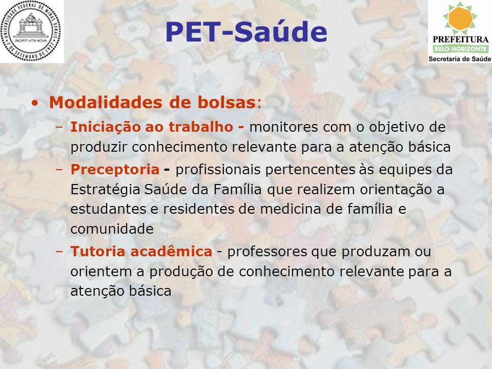 PET-Saúde Modalidades de bolsas: –Iniciação ao trabalho - monitores com o objetivo de produzir conhecimento relevante para a atenção básica –Preceptor